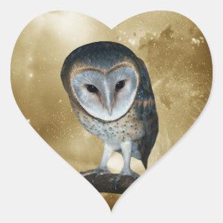 A Cute little Barn Owl Fantasy Heart Sticker