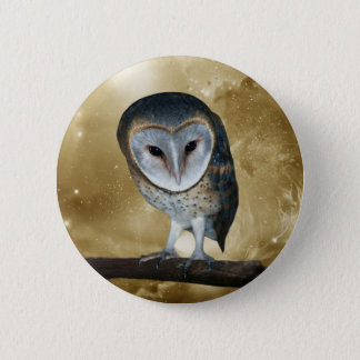 A Cute little Barn Owl Fantasy Pinback Button