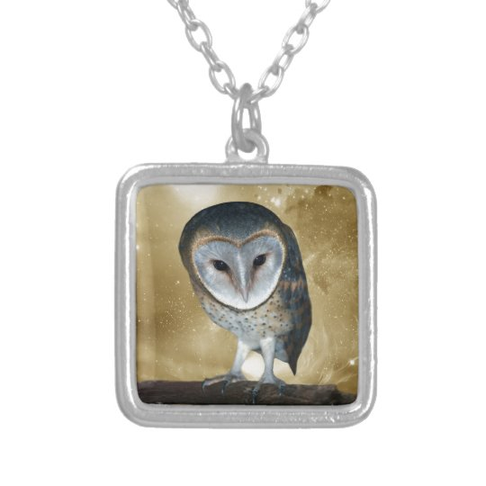A Cute little Barn Owl fantasy Silver Plated Necklace