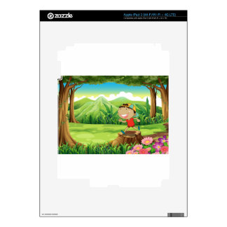 A cute little boy above the stump at the forest iPad 3 decal
