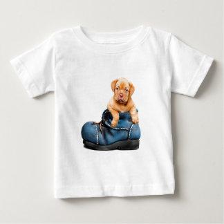A cute little brown puppy posing over a blue shoe baby T-Shirt
