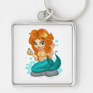 A Cute little mermaid and a compass Silver-Colored Square Keychain