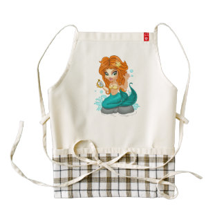 A Cute little mermaid and a compass Zazzle HEART Apron