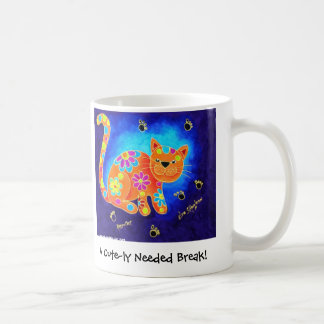 A Cute-ly Needed Break! - Happy Blue Cat Coffee Mug