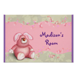 A Cute Pink Bunny with Hearts and Foliage Poster