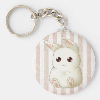 A Cute Puffy Kawaii Bunny Rabbit Basic Round Button Keychain