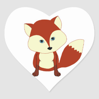 A cute red fox heart sticker