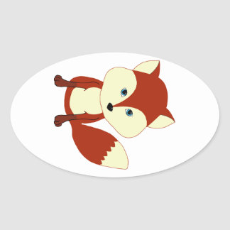 A cute red fox oval sticker