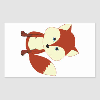 A cute red fox rectangular sticker