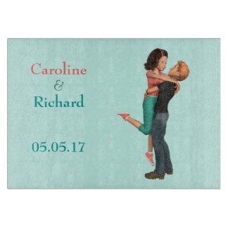 A Cute Romance: Sweethearts Embrace (Personalized) Cutting Board