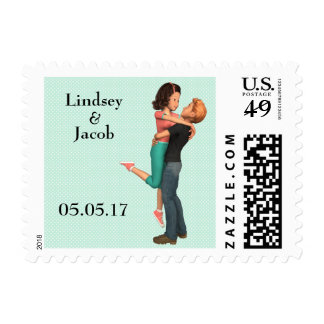 A Cute Romance: Sweethearts Embrace (Personalized) Postage