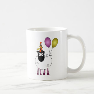 A cute sheep at party time. coffee mug
