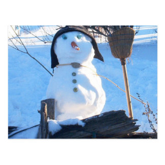 A cute snowman i made in the winter time post card