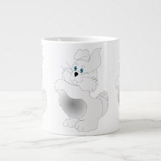 A cute white Easter Bunny cartoon Jumbo Mug