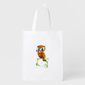 A cute wise owl with glasses cartoon market totes