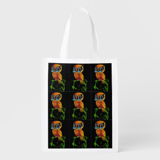 A cute wise owl with glasses cartoon reusable grocery bag