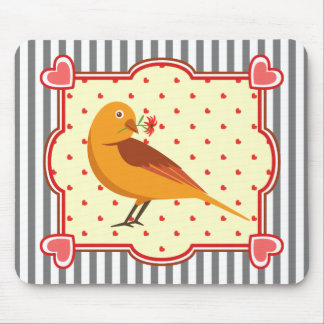 A cute yellow bird with flower in a heart frame mouse pad