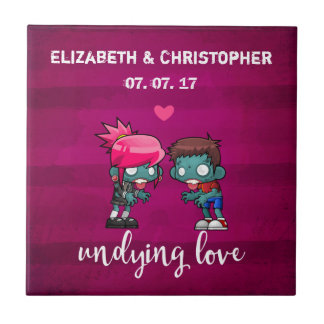 A Cute Zombie Couple Undying Love Wedding Tile