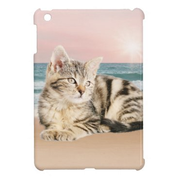 Beach Themed A Cuter Striped Cat Sitting on Beach with sunset Cover For The iPad Mini