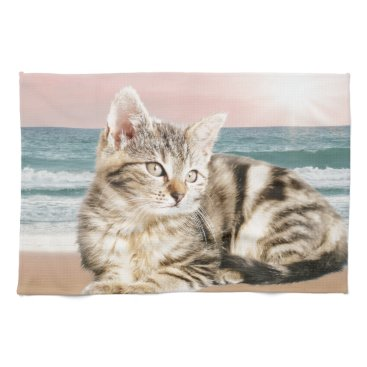 Beach Themed A Cuter Striped Cat Sitting on Beach with sunset Hand Towels