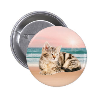 A Cuter Striped Cat Sitting on Beach with sunset Pinback Button
