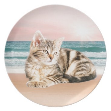 Beach Themed A Cuter Striped Cat Sitting on Beach with sunset Plate