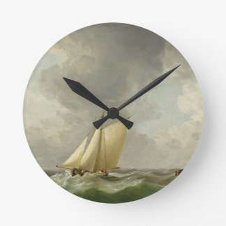 A Cutter in a Strong Breeze (oil on copper) Round Clock