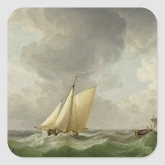A Cutter in a Strong Breeze (oil on copper) Square Sticker