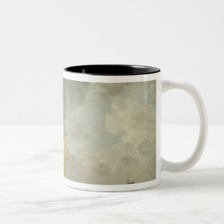 A Cutter in a Strong Breeze (oil on copper) Two-Tone Coffee Mug