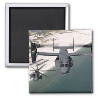 A CV-22 Osprey and an MH-53 Pave Low 2 Inch Square Magnet