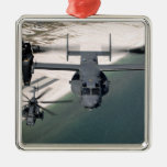 A CV-22 Osprey and an MH-53 Pave Low Square Metal Christmas Ornament