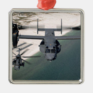 A CV-22 Osprey and an MH-53 Pave Low Christmas Tree Ornament