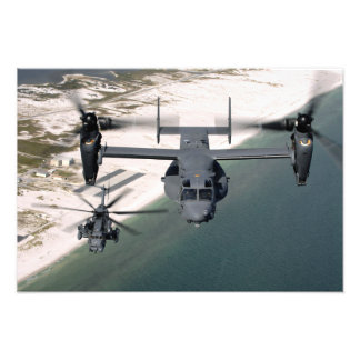 A CV-22 Osprey and an MH-53 Pave Low Photo Print