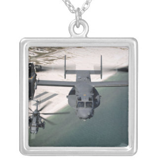 A CV-22 Osprey and an MH-53 Pave Low Silver Plated Necklace
