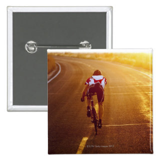A cyclist on road bike near Great Salt Lake 2 Inch Square Button