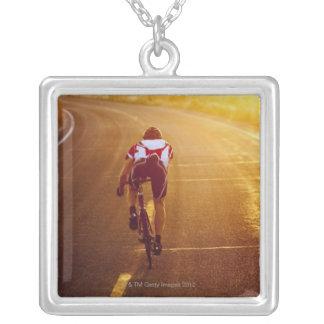 A cyclist on road bike near Great Salt Lake Necklace