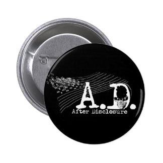 A.D. Después del acceso - botón (negro) Pin Redondo De 2 Pulgadas