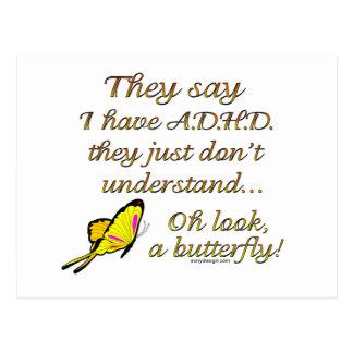 A.D.H.D. Butterfly Humor Postcard