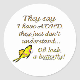 A.D.H.D. Humor de la mariposa Pegatina Redonda