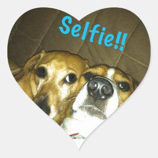 A dachshund and a beagle taking a selfie heart sticker