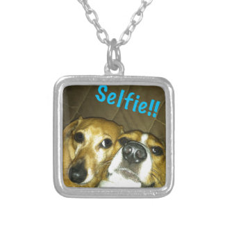 A dachshund and a beagle taking a selfie silver plated necklace
