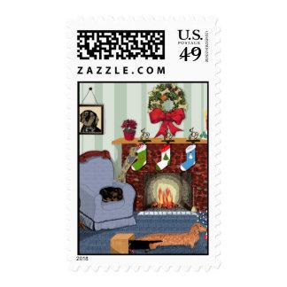 A Dachshund Christmas Stamp
