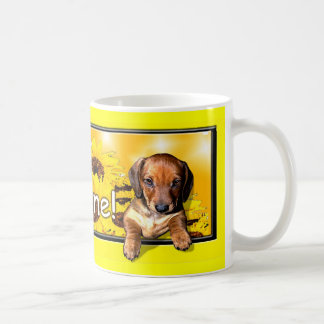 "A Dachshund Mug with a big ""mornin sunshine"""