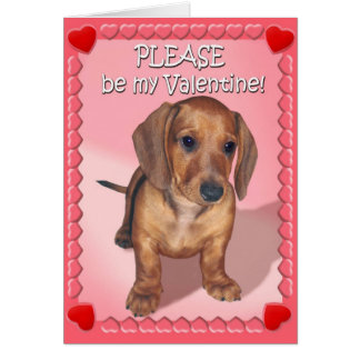 A Dachshund Puppy's Wish for Valentines Day Card