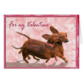 A dachshund Valentine - Lets go play! Card