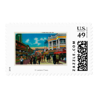 A daily scene on the Pike, Long Beach Postage