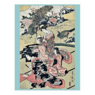 A Daimyo's mansion by Utagawa, Toyohiro Ukiyoe Postcard