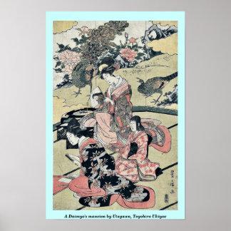 A Daimyo's mansion by Utagawa, Toyohiro Ukiyoe Poster