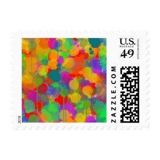 A Dance of Splattering Colors Postage Stamps
