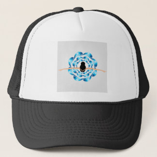 A dancing girl surrounded by water droplets trucker hat